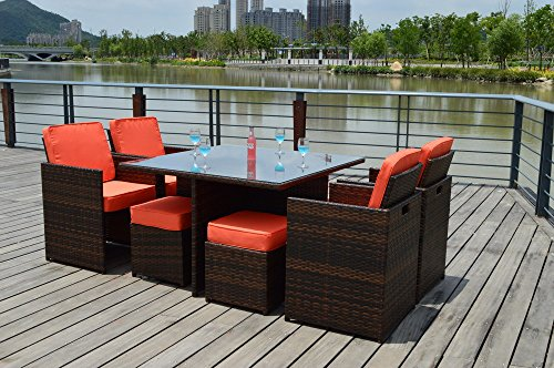 WP Furniture Outdoor 9 Nine Piece Modern Wicker PE Rattan Patio Dining Table Set, with Chair's, Ottoman's, Glass Table Top Review