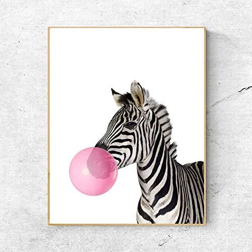 (Zebra with Pink Balloon Art Print Wall Art Animal Decor Kids Gift Dog Wall Hanging Bulldog Wall Hanging Painting Pictures Cotton Art Print 8x10 Inches No Frame)