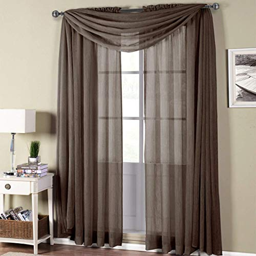 Royal Hotel Abri Chocolate-Brown Rod Pocket Crushed Sheer Door Curtain Panel, 50x63 inches