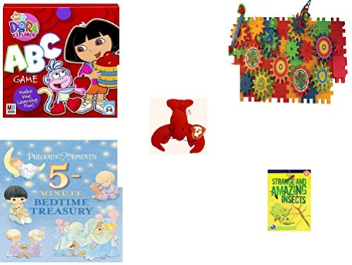 Children's Gift Bundle - Ages 3-5 [5 Piece] - Dora The Explorer: ABC Game - Play Sprockets Toy - Ty Teenie Beanie Babies - Pinchers The Lobster - Precious Moments 5-Minute Bedtime Treasury Hardcove
