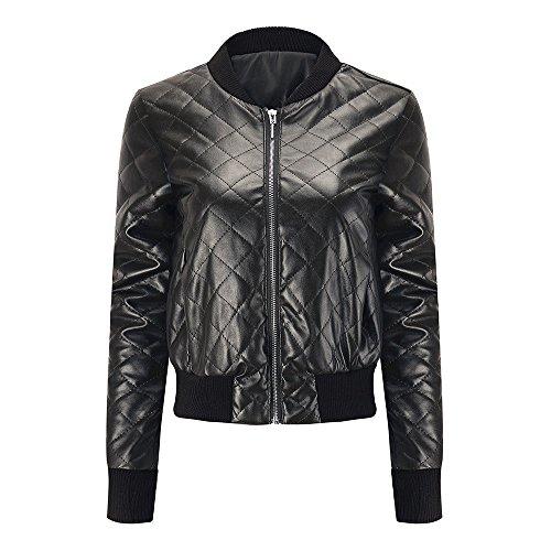Manteau Veste Lapel Courte Chemisier Pardessus Slim Noir Mode d'hiver en Veste Femmes Top KEERADS Zipper Cuir Cool p6qFC