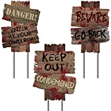 """Y-STOP Beware Signs Yard Stakes Halloween Decorations Outdoor Creepy Assorted Warning Sign, 3 Pieces, 12"""" x 9"""""""