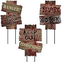 Y-STOP Beware Signs Yard Stakes Halloween Decorations...