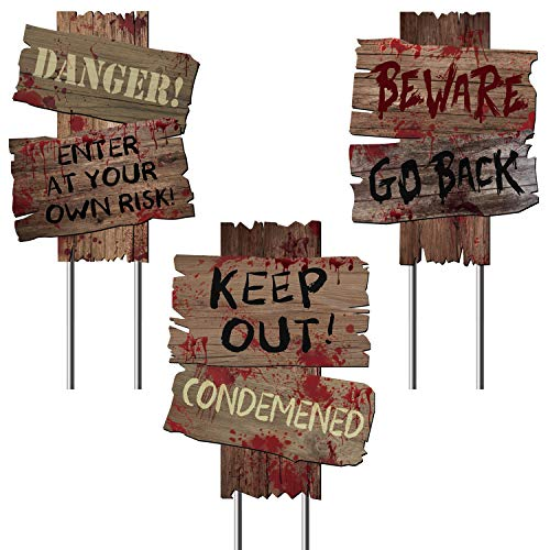 Y-STOP Beware Signs Yard Stakes Halloween Decorations Outdoor Creepy Assorted Warning Sign, 3 Pieces, 12 x 9