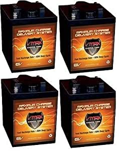 qty 4 VMAX 6V AGM 12V / 24V Battery pkg 225ah 6 volts ea high capacity golf cart solar commercial golfcart maintenance free 6Volt battery