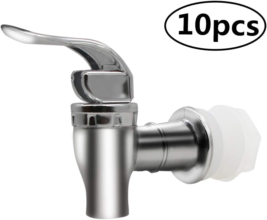 MUGLIO Silver Replacement Spigot for Beverage Dispenser Carafe Push Style Lever Pour Spout(10 Pack)