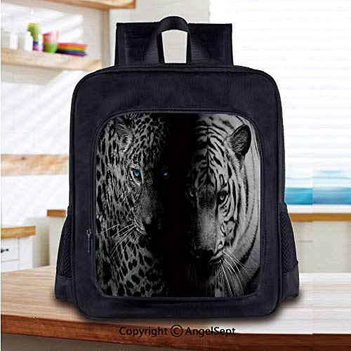 Backpack Wildcats Picnic - 14 Inch Backpack,Leopards Blue Eyes Aggressive Powerful Wildcat Profile Perfect for Primary, Preschool, Daycare, and Day Trips,Black White Blue