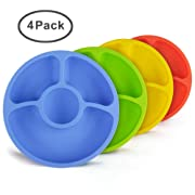 Silicone Divided Toddler Baby Plates - 4 Pack X 8  SILIVO Portable Snack Dishes for Kids, Children, and Elderly BPA-Free
