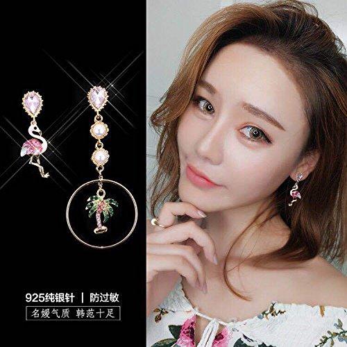 - usongs South Korea's asymmetrical sections 925 needles personality elegant zircon Flamingo palm pearl earrings