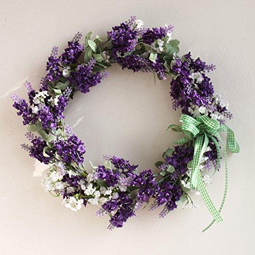 Festar White Purple 14 Inch Lavender Wreath for Home Door