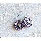 Purple Scottish thistle earrings sterling silver ear wire