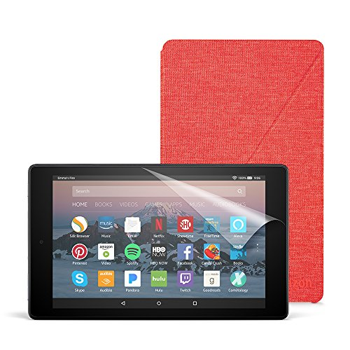 Fire HD 8 Essentials Bundle with Fire HD 8 Tablet (32 GB, Black), Amazon Cover (Punch Red) and Screen Protector (Clear)