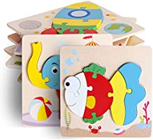 UMTOY Wooden Puzzle Jigsaw Toy, 8 Pack Puzzle Toys for Toddlers 2-3-4 Years Old boy and Girl Birthday Gift Educational...