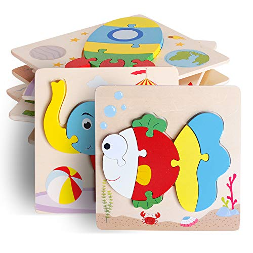 UMTOY Wooden Puzzle Jigsaw Toy, 8 Pack Puzzle Toys for Toddlers 2-3-4 Years Old boy and Girl Birthday Gift Educational Kids Toys