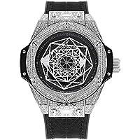 Huboler Men's Watch Iced Out Bling Diamonds Quartz Stainless Steel Wrist Watches (Silver)