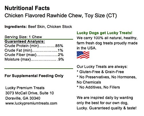 Healthy Chicken Flavored Rawhide Dog Chews for Toy Size Dogs Made in the USA Only by Lucky Premium Treats, 290 Chews by Lucky Premium Treats (Image #3)