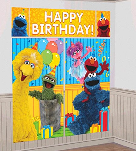 Party Birthday Scene - Amscan Sesame Street Elmo Scene Setters Wall Banner Decorating Kit Birthday Party Supplies,Multicolor
