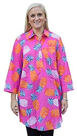 Mud Pie Kelli Shirtdress Cover-Up Pineapples (S)