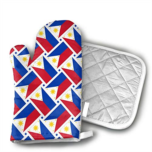 HEPKL Oven Mitts and Potholders Philippines Flag Weave Non-Slip Grip Heat Resistant Oven Gloves BBQ Cooking Baking Grilling ()