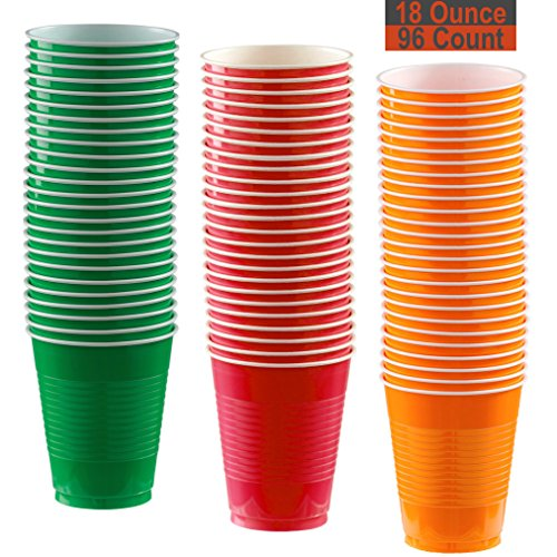 18 oz Party Cups, 96 Count - Festive Green, Red, Pumpkin Orange - 32 Each -