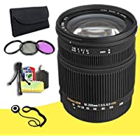Sigma 18-250mm f/3.5-6.3 DC OS HSM IF Lens for Canon AF Digital SLR Cameras + 72mm 3 Piece Filter Kit + Lens Cap Keeper + Deluxe Starter Kit  DavisMAX Bundle