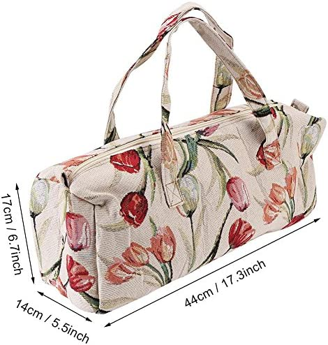 Knitting Bag, Household Fabric Knitting Yarn Storage Bag Tote Organizer for Sewing Tools and Accessories Storage (# 2) (Red Flower)