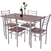 Giantex Modern 5 Piece Dining Table Set for 4 Chairs Wood...