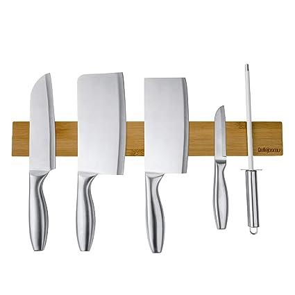 BelleJoomu - Soporte magnético para Cuchillos de Madera de Acacia para el Almacenamiento de Todo Tipo de Objetos de Metal (40 cm)