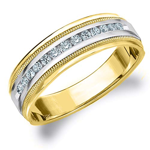 .25CT Heritage Men's Diamond Ring in 10K Two Tone Gold, 1/4 cttw Wedding Anniversary Ring for Men - Finger Size 8 (Tone Ring Two Tiffany)