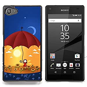 """Qstar Arte & diseño plástico duro Fundas Cover Cubre Hard Case Cover para Sony Xperia Z5 Compact Z5 Mini (Not for Normal Z5) (Arte Umbrella Sun Flowers Yellow Moon"""")"""