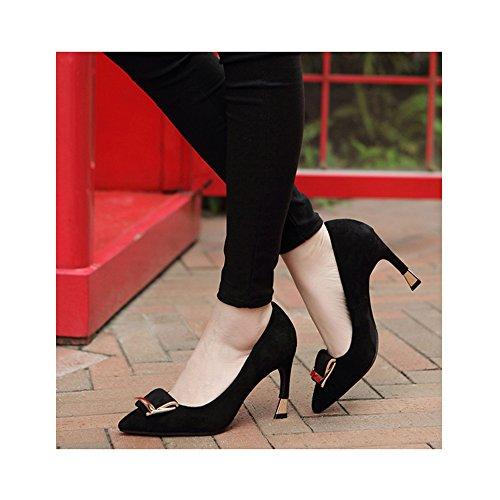 OCHENTA Mujeres Zapatos de tacón Alto la Altura del talón 7CM Elegante Trabajo de la Boda Negro