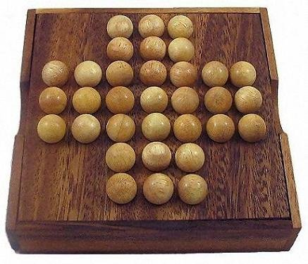 Winshare Puzzles and Games Solitaire Marble Wooden Brain Teaser Game