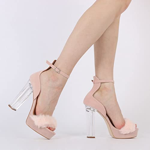 2b206138c059 Womens Buckled Fluffy Toe Perspex Platform Heels Blush Pink Faux Suede 3-8   Amazon.co.uk  Shoes   Bags