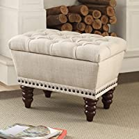 Worldwide Homefurnishings Inc. Hampton Linen Tufted Single Storage Bench Beige