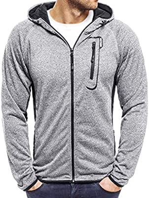 Coolred-Men Slim Fit Causal Solid Zip up Sports Sweatshirt Top Hoodies