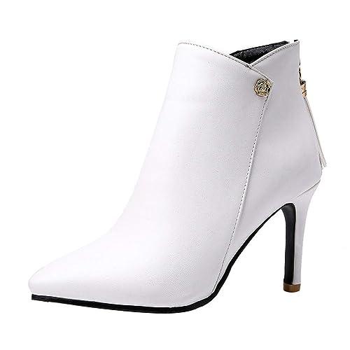 e680808f866e6 Kittcatt Bottes Femme Bottine Bout Pointu a Talon Aiguille Ankle Boots  Strass Hiver Winter Shoes Chaussure