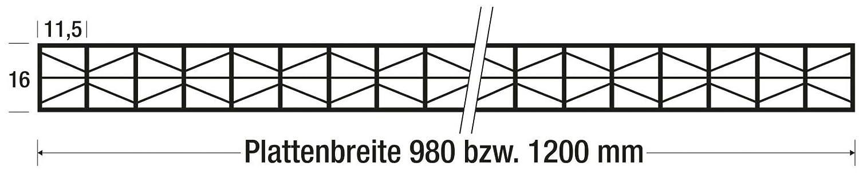 Farbe Opal Wei/ß Stegf/ünffachplatte Hohlkammerplatte Breite 1200 mm Stegplatte St/ärke 16 mm Extra stark Material Polycarbonat