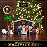 FAO Schwarz 15-Piece Wooden Holiday Nativity Scene