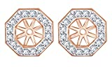 White Natural Diamond Octagon Jackets for Stud Earring Stud in 14k Solid Rose Gold (0.40 Cttw)