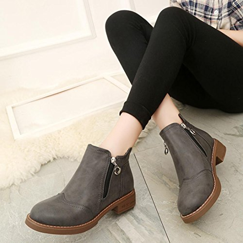 Clode® Womens Boots, Fashion Ladies PU Leather Flat Ankle Boots Spring Fall Winter Boots Gray
