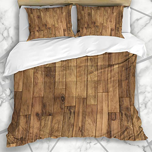 Ahawoso Duvet Cover Sets Queen/Full 90x90 Tile Brown Floor Parquet Pattern Abstract Plank Wood Wooden Oak Dark Timber Microfiber Bedding with 2 Pillow Shams