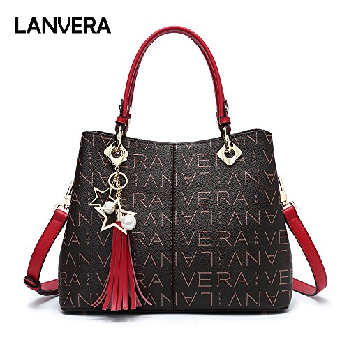 Lanvera Purse Tote Bags,PVC Leather Top Handle Handbags for women,Large Shoulder Crossbody Messenager Satchel (Red)
