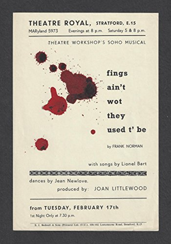 Buy cheap lionel bart fings aint wot they used richard harris 1959 london theatre workshop flyer