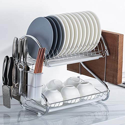 (ZHESHEN 2 Tier Chromed Steel Dish Drainer Rack with Mug Holder and Cutlery Cup Glasses Crockery Cutlery Utensil Drainer with Drip Removable Tray,WhitewithChoppingrack)
