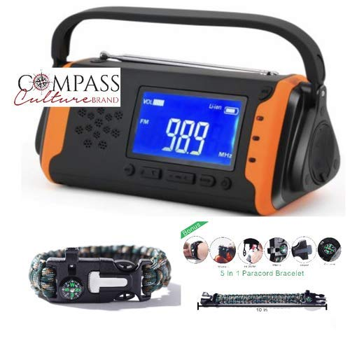 Solar + Hand Crank Digital AM FM NOAA Weather Emergency Radio + Music Player + 4000mah Power Bank Phone Charger & LED Flashlight SOS Bonus Survival Paracord Bracelet Flint Fire Starter Compass Whistle by Compass Culture Brand (Image #10)