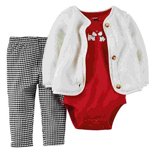 Carter's Infant Girls 3 Piece Scotty Dog Set Plush Jacket...