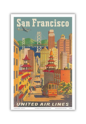San Francisco, California - United Air Lines - Cable Car in Chinatown - Vintage Airline Travel Poster by Joseph Fehér c.1950s - Master Art Print - 12in x 18in