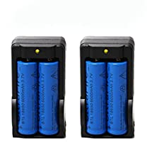 4PC 6000mAh BRC 3.7v 18650 Rechargeable Li-ion Battery + 2X Smart Battery Charger