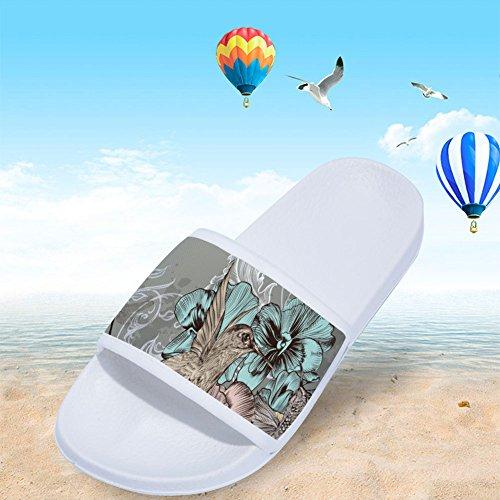 para Blanco Zapatillas Antideslizantes Pájaros de Flores de Mujer Secado Diseño Rápido y RqI1xPq