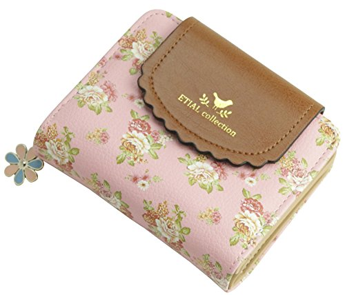 ETIAL Women's Vintage Floral Zip Mini Wallet Short Design Coin Purse Pink - Vintage Zip